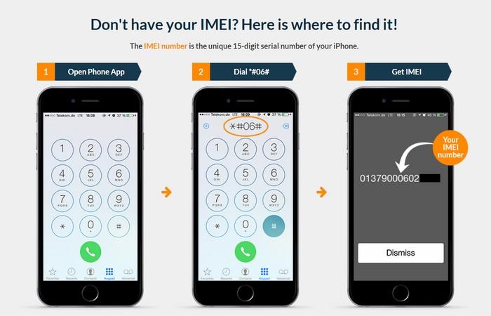 Bạn bấm trực tiếp trên màn hình quay số là *#06# > dòng IMEI sẽ hiển thị cho bạn thấy