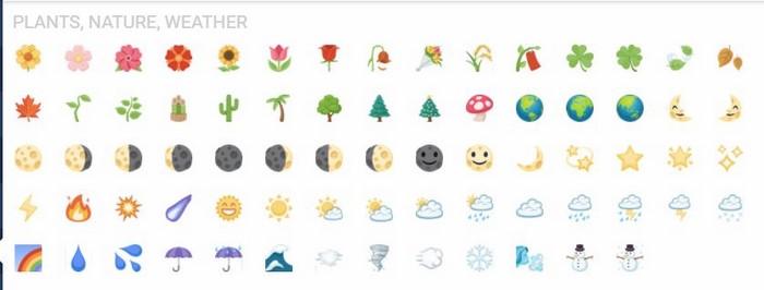 iCon facebook thực vật,thiên nhiên và thời tiết (Plants, Nature, Weather)