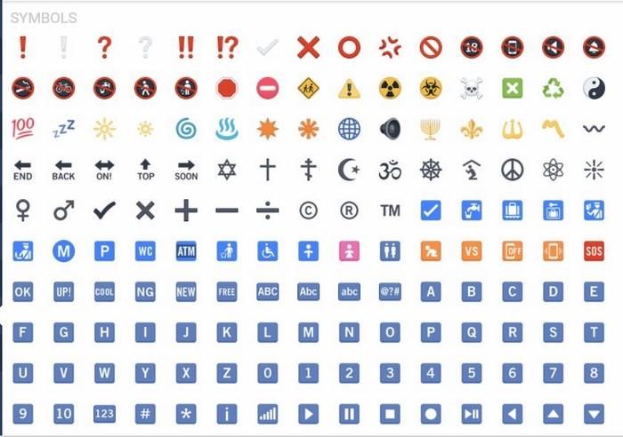 iCon facebook ký hiệu ký tự đặc biệt (Symbols)