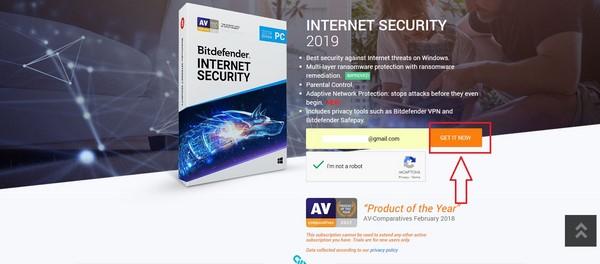 Hướng dẫn đăng ký nhận bản quyền miễn phí Bitdefender Internet Security 2019