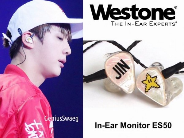 Jin cũng sở hữu tai nghe Westone ES50.