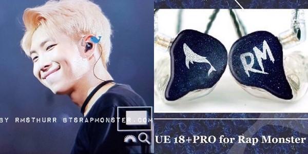 RM ngoài ra còn một chiếc UE18+ Pro nữa với thiết kế đen – trắng cùng một bên in hình cá voi và một bên in tên anh. Mỗi chiếc tai nghe thế này có giá 1.499 USD chưa kể các chi phí liên quan đến thiết kế hoặc tuỳ biến.