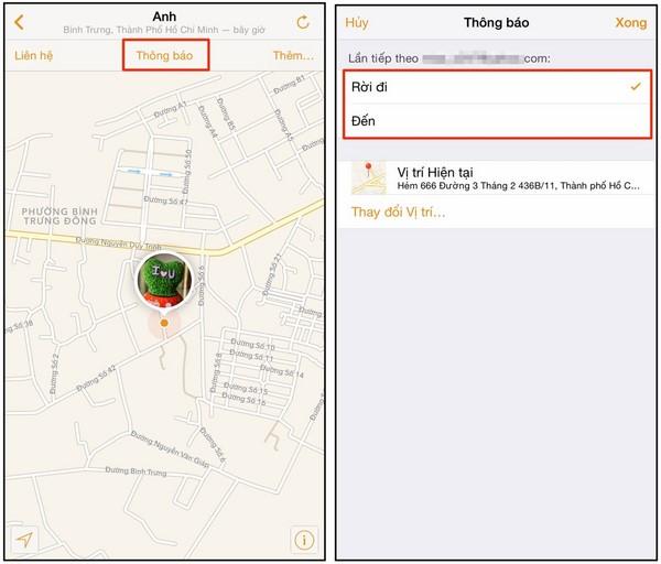 Theo dõi vị trí của iPhone B
