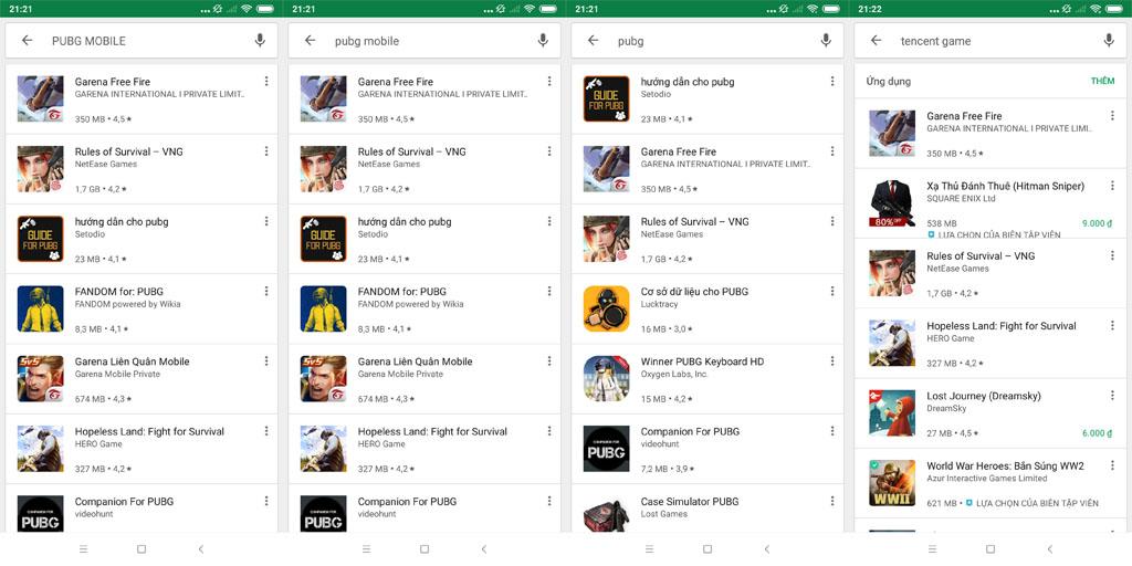 Không tìm thấy PUBG Mobile với từ khóa chính xác trên Ch Play