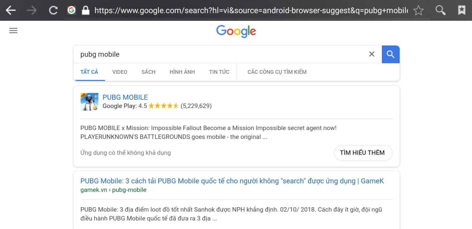 Tìm kiếm trên google vẫn thấy PUBG Mobile