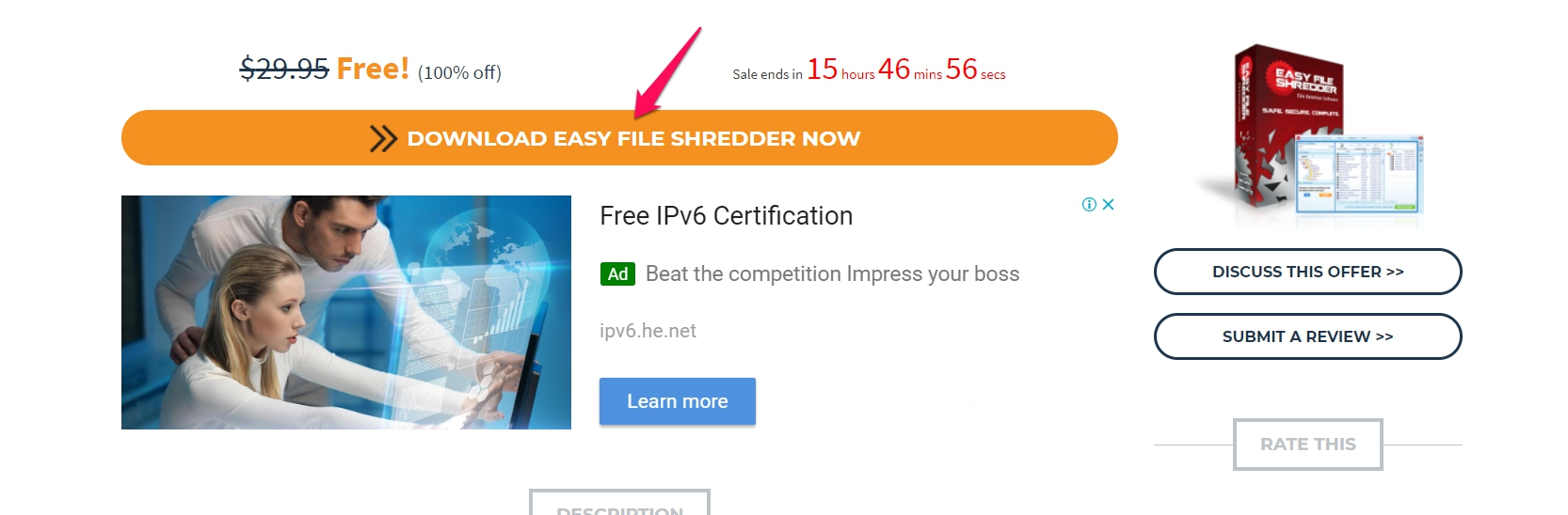 "nhấp vào ""DOWNLOAD EASY FILE SHREDDER NOW"""