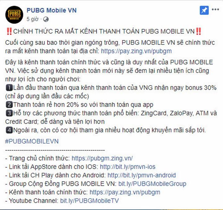 PUBG Mobile VN đã chính thức ra mắt kênh thanh toán phục vụ cho hàng triệu game thủ Việt Nam