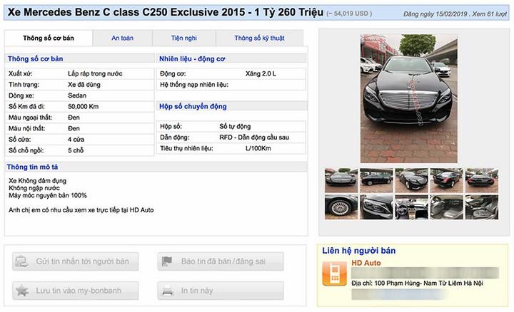 Quảng cáo bán một chiếc C250 của HD Auto tương tự chiếc xe của anh Nam, đăng sau đó 2 ngày, vẫn ghi rõ số km xe đã đi.