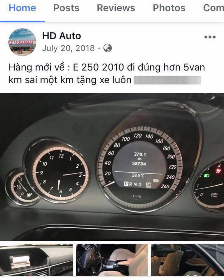 Một quảng cáo của HD Auto nhấn mạnh cam kết về số kilomet.