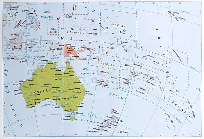 Bản đồ thế giới Châu đại Dương