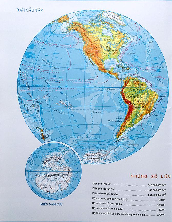 Bản đồ Thế Giới về bán cầu tây