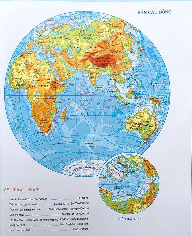 Bản đồ Thế Giới về bán cầu Đông