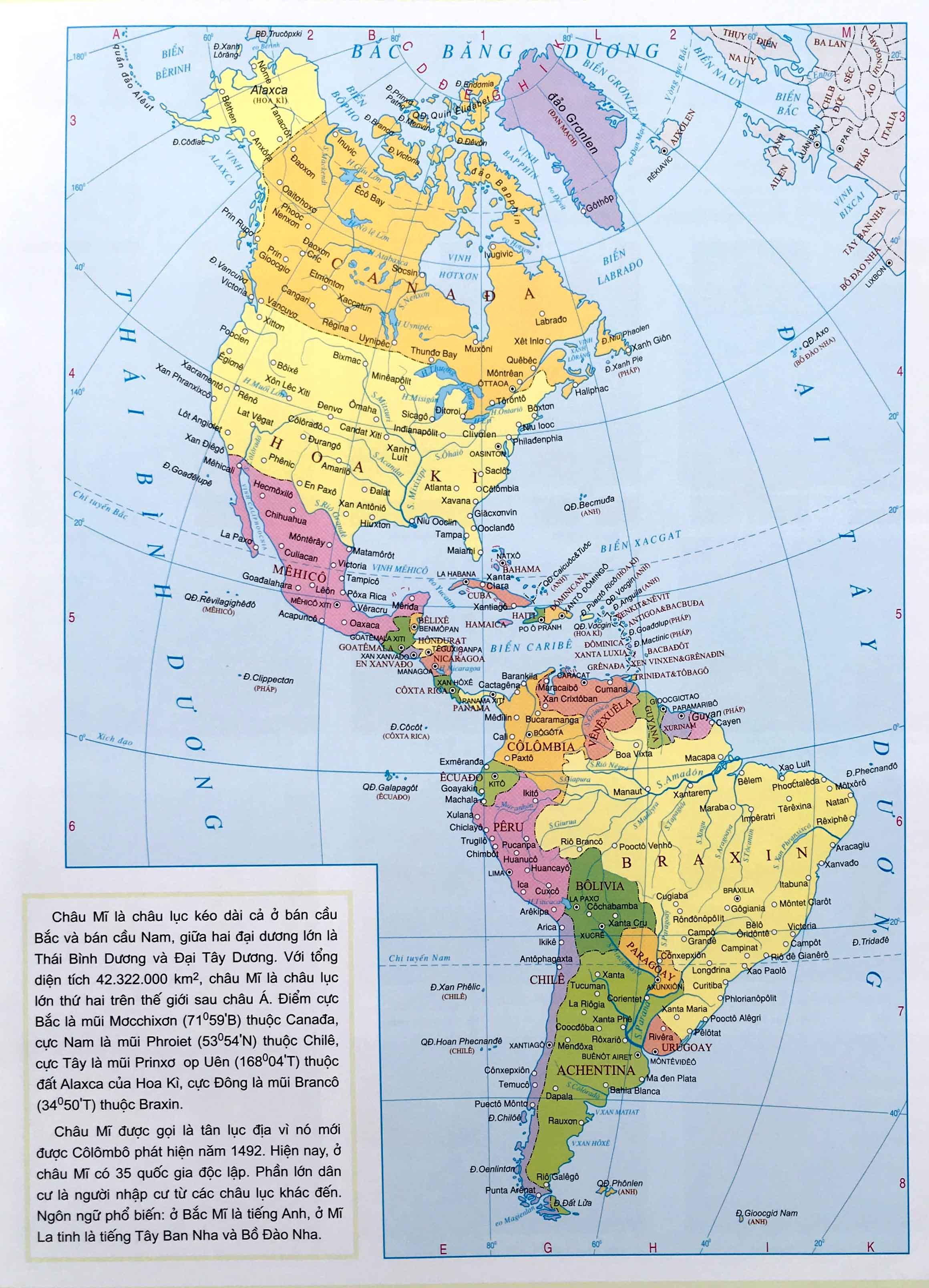 Bản đồ thế giới Châu Mỹ
