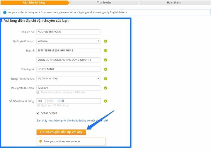 Cung cấp thông tin địa chỉ nhận hàng nhận hàng