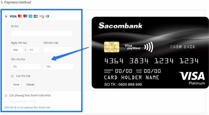 Thanh toán bằng thẻ Visa