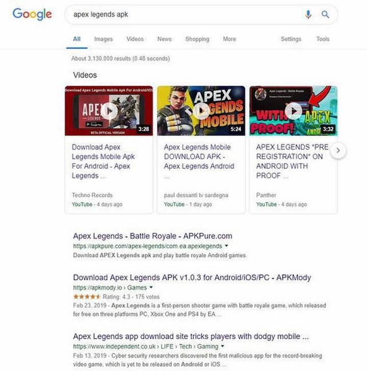 File APK Apex Legends Mobile đều là giả mạo. (nguồn ảnh: Google)