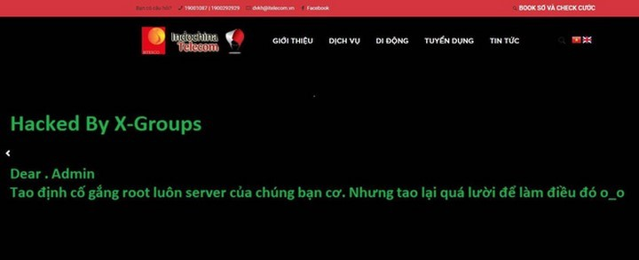 sau lễ ra mắt thì website chính thức của nhà mạng Indochina Telecom đã được hacker ghé thăm để lại thông điệp đầy thách thức
