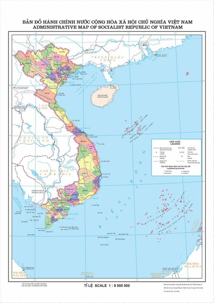 Bản đồ hành chính nước Cộng hoà xã hội chủ nghĩa Việt Nam