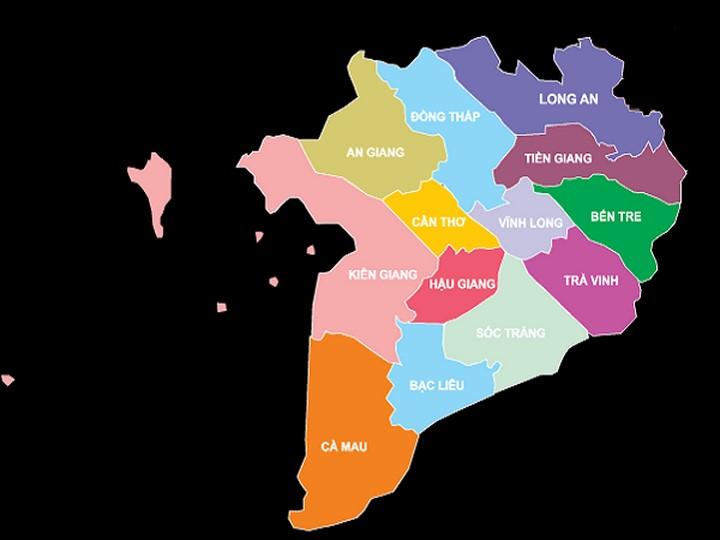Bản đồ Việt Nam (Tây Nam Bộ(hay còn gọi là đồng bằng sông Cửu Long))