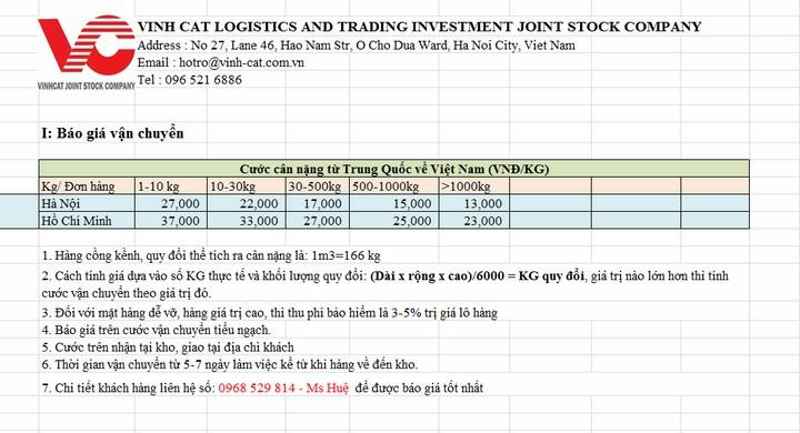Bảng giá vận chuyển hàng từ Trung Quốc về Việt Nam tiểu nghạch