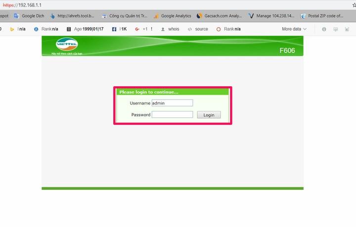 nhập Username/password để đăng nhập vào modem