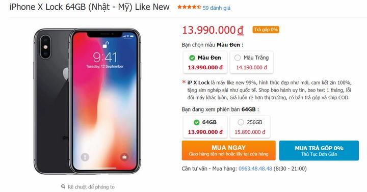 Giá iPhone X Lock (Nhật - Mỹ) Like New tại duchuymobile.com