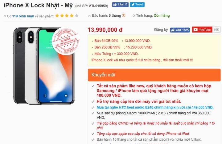 Giá iPhone X Lock Nhật - Mỹ tại viettablet.com