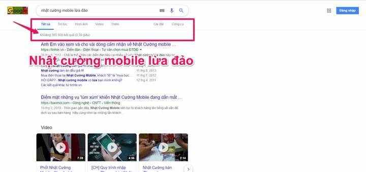 """Từ khóa """"Nhật Cường Mobile lừa đảo"""" trên google"""
