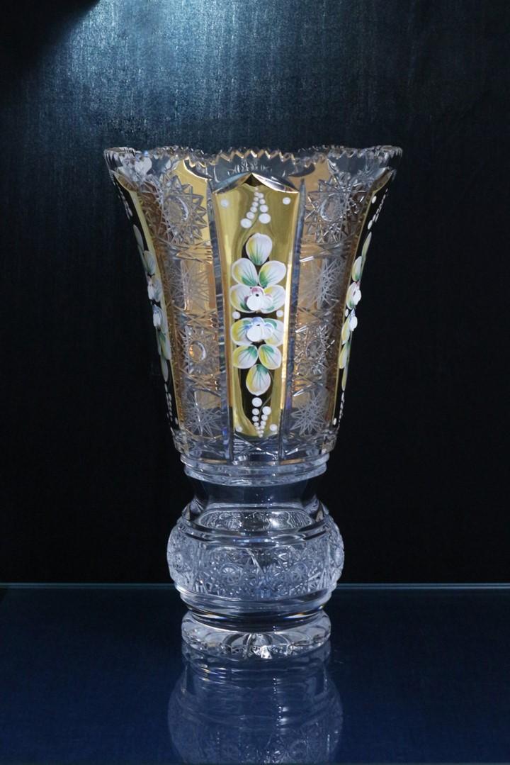 Lọ hoa pha lê tiệp cao cấp đắp nổi - Mạ vàng