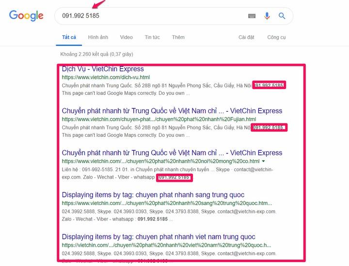 Tra cứu thông tin số điện thoại thông qua Google