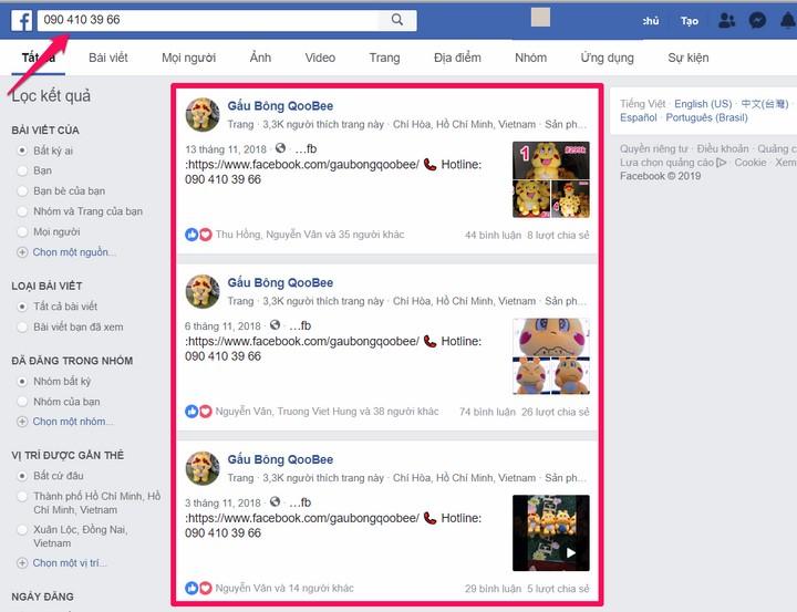 Tra cứu thông tin số điện thoại thông qua MXH Facebook