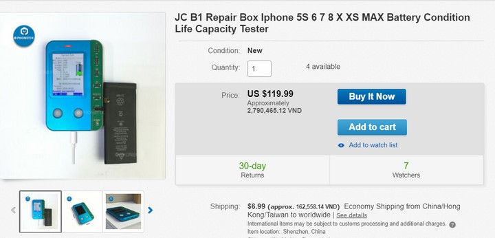 JC B1 Repair Box Iphone 5S 6 7 8 X XS MAX Battery Condition Life Capacity Tester