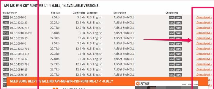 Bổ sung file api-ms-win-crt-runtime-l1-1-0.dll cho máy tính