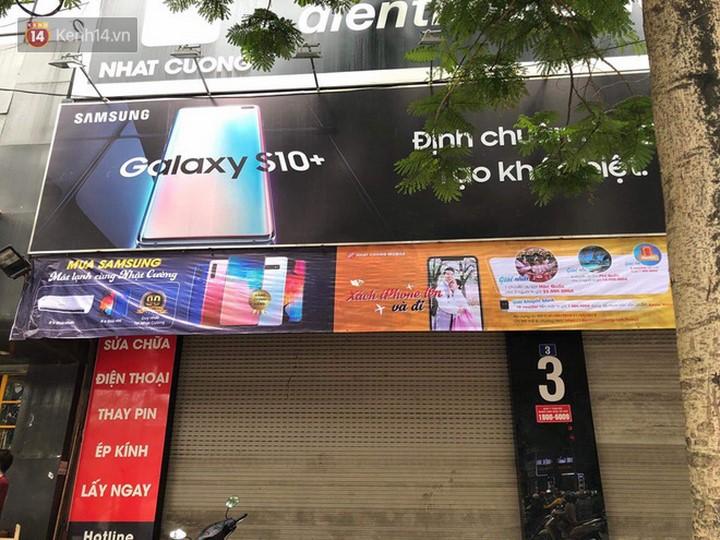 Cửa hàng Nhật Cường Mobile tại số 3 đường Xuân Thủy, quận Cầu Giấy, Hà Nội sáng nay.