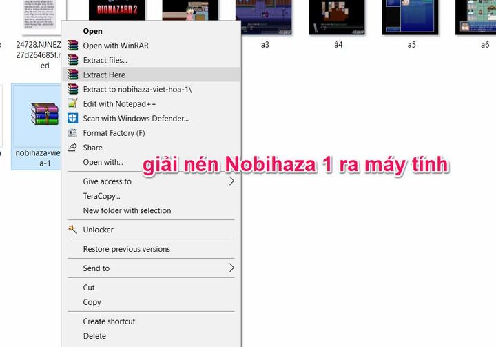 giải nén Nobihaza 1 ra máy tính