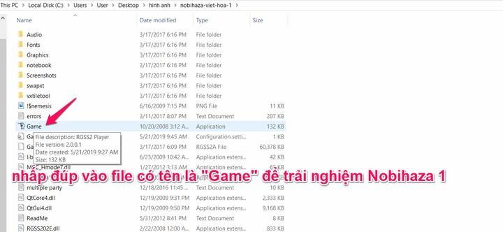 """nhấp đúp vào file có tên là """"Game"""" để trải nghiệm Nobihaza 1"""