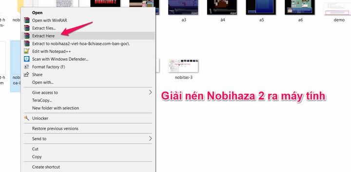 Giải nén Nobihaza 2 ra máy tính