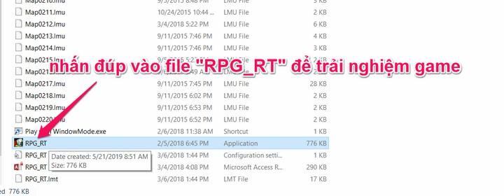 """nhấn đúp vào file """"RPG_RT"""" để trải nghiệm game"""