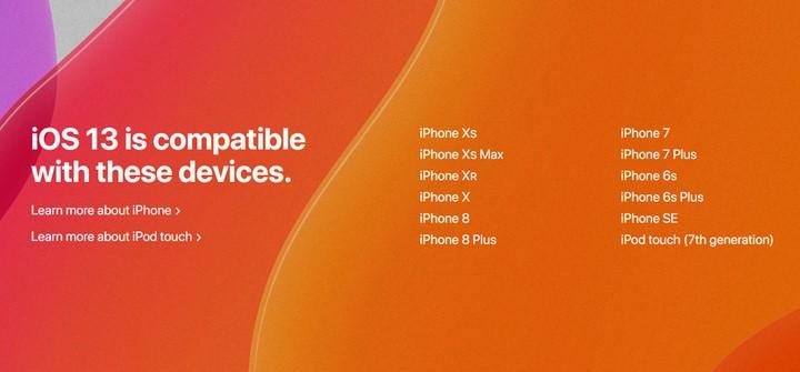 Danh sách các thiết bị được cập nhật lên iOS 13