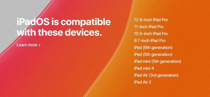 Danh sách các thiết bị được hỗ trợ nâng cấp lên iPadOS