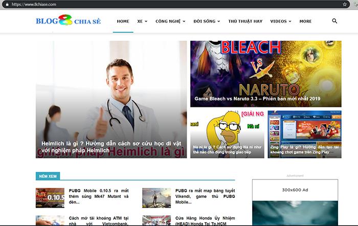 Giao diện website blog 8chiase.com