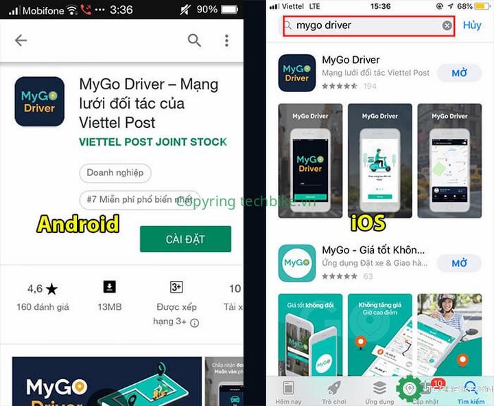 Tải ứng dụng MyGo Driver về điện thoại