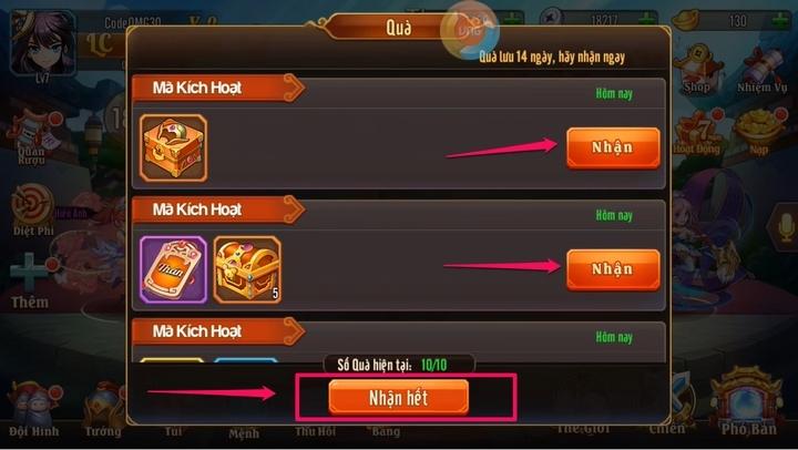 Nhận quà từ Gift Code Omg 3Q