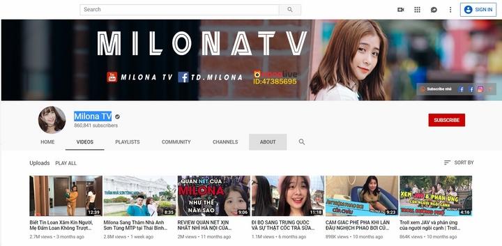 kênh youtube của Milona có gần 1 triệu lượt theo dõi