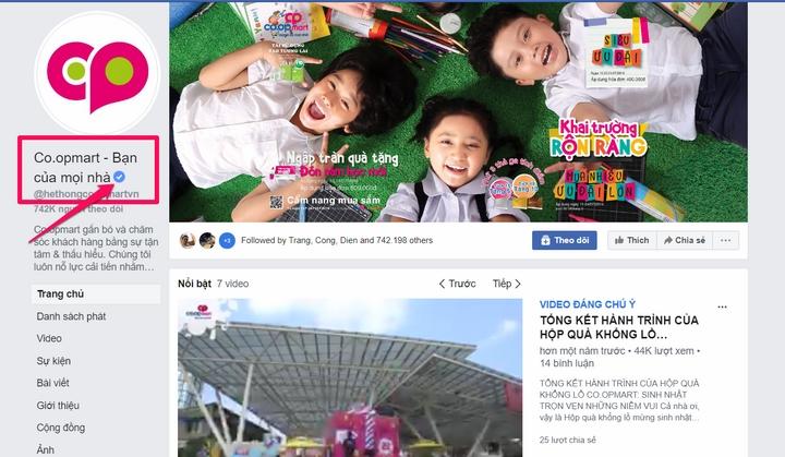 fanpage của Siêu thị Co-op Mart có dấu tích xanh