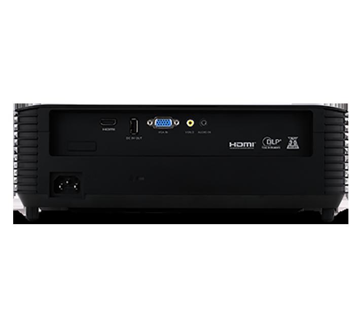 Acer X128H tích hợp nhiều cổng kết nối phù hợp với nhiều thiết bị như laptop,PC,USB,TiVi