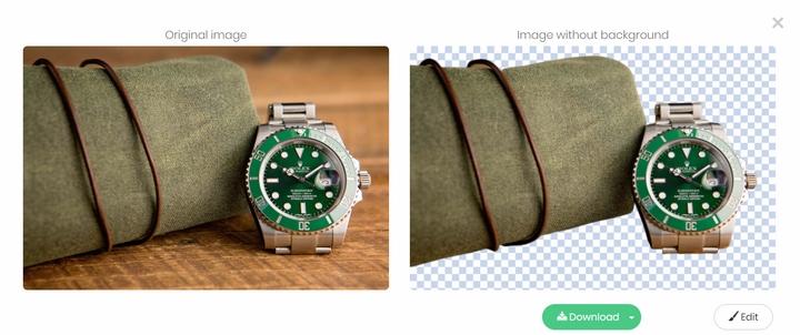Tách nền ảnh đồng hồ và ví với Remove.bg