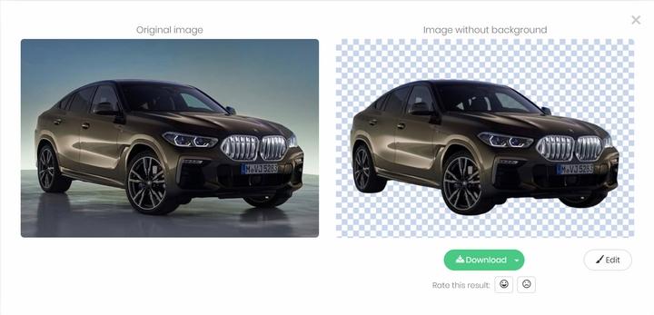 Tách nền ảnh BMW X6 2020 với Remove.bg