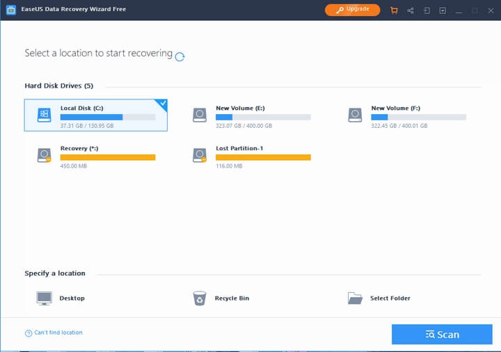 Giao diện phần mềm EASEUS Data Recovery Wizard Free