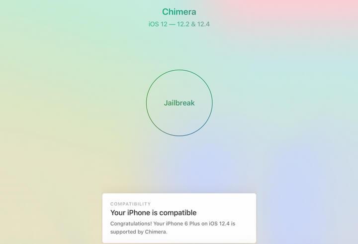giao diện jailbreak iOS 12.4 với Chimera